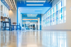 Musselman & Hall salvaged a previously damaged and abused concrete floor that they were able to grind and polish using the Bomanite Modena SL Custom Polishing System, resulting in a beautifully designed, environmentally friendly, and functional flooring finish that saved the school district money and time.