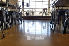 The Bomanite Patene Teres Custom Polishing System was used here to create a decorative concrete flooring surface with a high-end polished finish that perfectly portrays the contemporary design aesthetic in both the Northside Christian School and frappe house at CrossCity Christian Church.