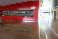 Durable and decorative concrete flooring surfaces were created in The Richards Group lobby area and various common spaces by installing Bomanite VitraFlor custom polished concrete, which was the perfect choice to complement the quality finishes and design throughout the building.
