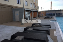 This Bomanite Exposed Aggregate Alloy finish provided the perfect slip resistant, durable, and low maintenance hardscape surface at the Tulsa Hard Rock Hotel & Casino, with a cohesive deck area that adds to the luxurious aesthetic and earned our colleague, Bomanite of Tulsa, Inc., the 2017 Best Bomanite Exposed Aggregate Project Bronze Award.