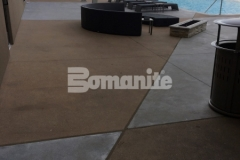 Bomanite Alloy architectural exposed concrete was installed here to create a durable and decorative pool deck surface at the Tulsa Hard Rock Hotel & Casino, providing improved wear resistance that will stand up to the foot traffic that comes with club goers, wedding parties, corporate events, and concerts.