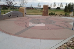 Bomanite Sandscape Texture decorative concrete has natural non-skid properties and abrasion resistant aggregates and was the product of choice at Centennial Center Park to create a beautiful hardscape surface that provides consistent texture and durability.