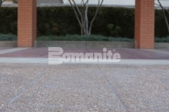 Musselman & Hall Contractors were enlisted by the owners of the Residence Condominiums to renovate the pavement at the front entrance and chose Bomanite Bomacron English Sidewalk Slate imprinted concrete with a Bomanite Sandscape Texture Exposed Aggregate finish to create a hardscape surface that will not show wear from traffic or need constant resealing to look new.