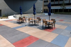 I love the vibrant stain colors that were incorporated into this Bomanite Sandscape Texture decorative concrete because the pattern adds unique detail to the hardscape surface for added visual interest.