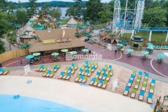 Bomanite Imprint Systems were used here by Harrington Bomanite to create 45,000 SF of stamped concrete with multiple patterns and colors that add a distinctive design aesthetic while providing a durable decking solution around this new water feature at Canobie Lake Park.