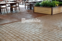 Bomanite Belgium Block imprinted concrete was installed here with rigorous placement precision to achieve an intentionally consistent look that blends in perfectly with the natural, rustic environment at the Gaylord Rockies Resort & Convention Center.
