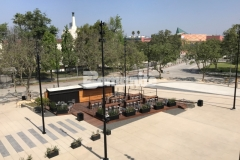 """Bomanite imprinted concrete was skillfully installed here by our associate, Bomel Construction Company, using the Bomacron 11.5"""" Boardwalk pattern to create a contrasting gray walkway that adds detail and character to the Northwest Plaza entrance at LAFC Stadium."""