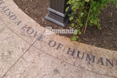 Showcased here is Bomanite Regular Slate imprinted concrete that was etched and then highlighted with Bomanite Con-Color to draw attention to the thought-provoking words that were chosen for this space in the Dr. Sanford and Lois Benjamin Healing Garden at CMC Mercy Hospital.