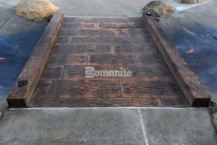 Highlighted here is the Bomacron 12-inch Boardwalk pattern from the Bomanite Imprint Systems collection, which was perfect to create a decorative concrete bridge with stamped concrete planks and sides that add texture and pattern to this unique interactive play area.