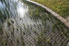 Bomanite Grasscrete was installed here to create a partially concealed pervious pavement system that provides proper drainage while maintaining the natural aesthetic of the site.